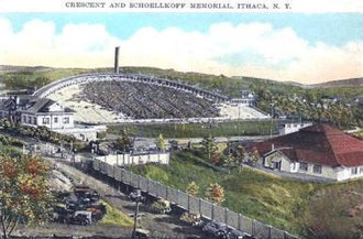 Schoellkopf Field - A 1922 souvenir postcard shows Schoellkopf Field's unique crescent-shaped stands