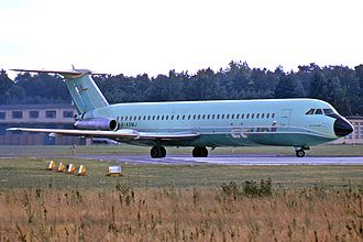 Court Line - Court Line BAC One-Eleven 518FG G-AXMJ at Berlin Gatow in September 1973. Seven months later, this aircraft was involved in the flight 95 runway incursion incident at Luton.