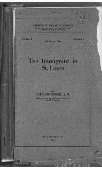 The Immigrant of St. Louis (book) - The Cover Page from The Immigrant in St. Louis: A Survey