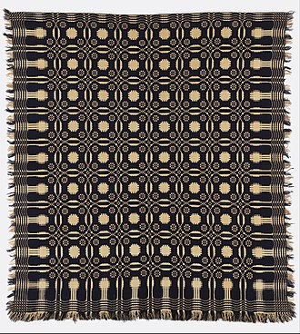Woven coverlet - Wool and cotton double cloth coverlet, early 19th century, in the Cooper Hewitt.