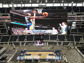 Cowboys Stadium configured for its first baske...