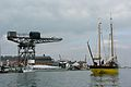 Cowes Crane and 100yr old Lugger.jpg