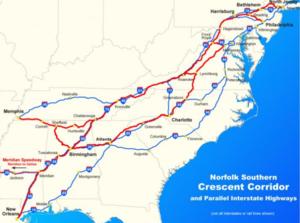 Crescent Corridor - Crescent Corridor running parallel to interstates