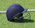 Cricket helmet at Fenner's Field ground, Cambridge University Cricket Club, England 01.jpg