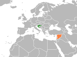 Map indicating locations of Croatia and Syria
