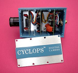 Cromemco Cyclops - The electronics for the Cyclops was contained on three small circuit boards. The two red LED's on the first board are the bias lights to provide background illumination of the sensor for low-light conditions.