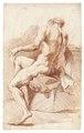 Croquisteckning föreställande naken man, 1760-tal - Skoklosters slott - 99211.tif