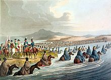 Napoleon's army crossing the Neman Crossing the Neman in Russia 1812 by Clark.jpg