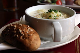 Scottish cuisine - Cullen skink (right), served with bread