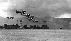 Curtiss A-12 Shrike - Formation of Curtiss A-12 Shrikes during exercises near Wheeler Field, Oahu, Hawaii.