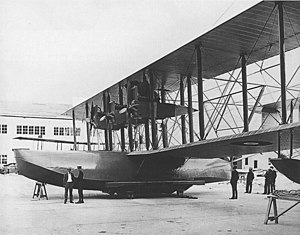 "Curtiss NC - ""NC-1"" after completion, in three-engine configuration, 3 October 1918."