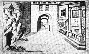 Hôtel de Bourgogne (theatre) - Image: Décoration de 'Lisandre et Caliste' de Du Ryer Lancaster 1920 after p 68