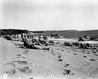 Exercise Tiger - American troops landing on Slapton Sands in England during rehearsals for the invasion of Normandy