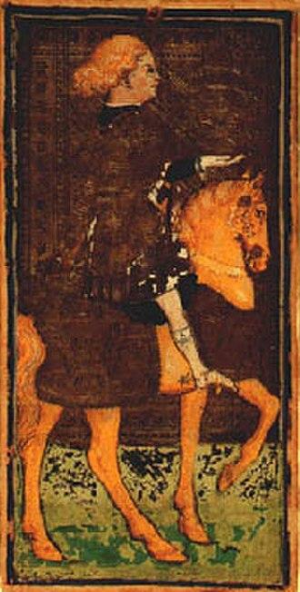 Visconti-Sforza tarot deck - Image: Dama a cavallo