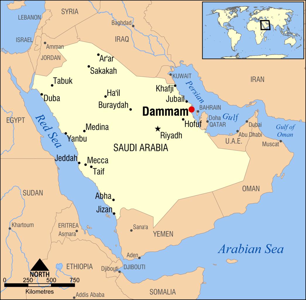 File:Dammam, Saudi Arabia locator map.png - Wikimedia Commons on