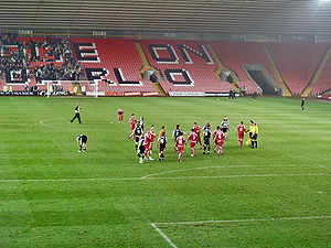 "The Darlington Arena - Ground showing the words ""Come on Darlo"""