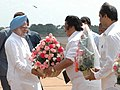 Dasari Narayana Rao receives the Prime Minister Dr. Manmohan Singh on his arrival at Neyveli, Tamil Nadu on 4 February 2006. The Union Minister for Health & Family Welfare, Dr. Anbumani Ramadoss is also seen.jpg