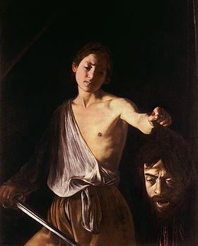 Tableau montrant un jeune homme tenant une épée d'une main et de l'autre la tête coupée d'un géant.