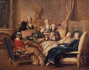 Sitting - Women reclining in chairs. Painting by Jean-François de Troy.