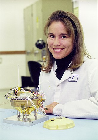 Deep Space 2 - Deep Space 2 project manager Sarah Gavit with the engineering hardward of the probe