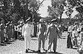 Defilé. Vlnr. A.S. Pinke, H.J. van Mook, S.H. Spoor, Bestanddeelnr 152-5-3.jpg
