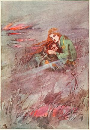 "Deirdre - A painting of Deirdrê in ""A book of myths"" (1915) by Helen Stratton."