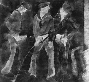 Three sailors urinating by Charles Demuth, ca.1930