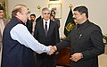 Dharmendra Pradhan meeting the Prime Minister of Pakistan, Mr. Nawaz Sharif, on the sidelines of the TAPI Steering Committee meeting, at Islamabad, in Pakistan on February 11, 2015.jpg