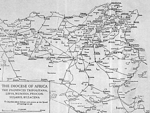 Milevum - Map of Roman Diocese of Africa Proconsularis and Numidia, showing Milev next to Mauretania Sitifensis