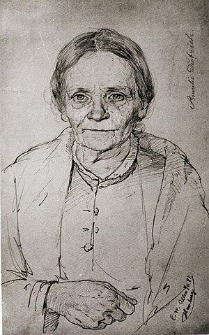 Amalie Dietrich - Portrait of Amalie Dietrich on her sixtieth birthday, drawn by Christian Wilhelm Allers, 1881.