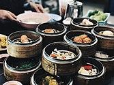 Asortyment produktów w posiłku śniadaniowym Dim Sum