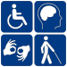 English: A collection of pictograms. Three of ...