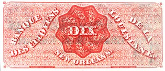 Dixie - Ten dollar note from Banque des citoyens de la Louisiane, 1860
