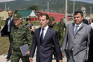 Russia–South Ossetia relations - Dmitry Medvedev with Sergey Makarov and Anatoly Serdyukov during a visit to the Russian military base in Tskhinval on 13 July 2009.