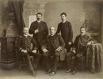 Imperial Brazilian Navy - Officers of the Armada. Seated, Prince August (left) and Admiral Eduardo Wandenkolk (center), 1889.