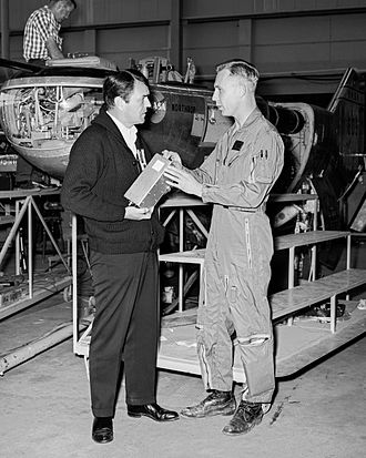 James Doohan - Doohan (left) visiting NASA's Dryden Flight Research Center with pilot Bruce Peterson April 13, 1967 in front of the Northrop M2-F2.