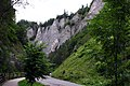 Droga ze Szczawnicy do Leśnicy na Słowacji prowadząca Doliną Leśnickiego Potoku. W tle skała o nazwie Wylizana. - panoramio.jpg
