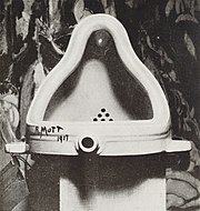 Fountain by Marcel Duchamp, 1917, photographed by Alfred Stieglitz at his 291 gallery after the 1917 Society of Independent Artists exhibit.