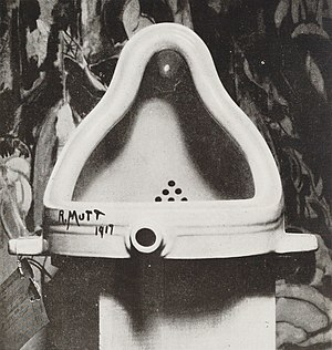 "Surreal humour - Marcel Duchamp's Fountain (1917), an inverted urinal signed ""R. Mutt""."