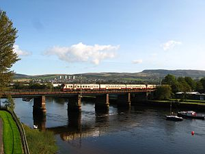 North Clyde Line - A Class 334 crosses the River Leven between Dumbarton Central and Dalreoch