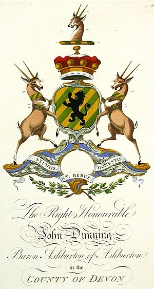 Joseph Edmondson - Typical depiction of a heraldic achievement drawn by Edmondson (with later tinting, here the arms of Dunning), in Baronagium Genealogicum