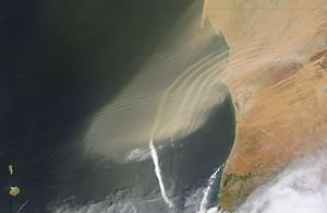 Atmospheric wave - Atmospheric waves, associated with a small dust storm of  north eastern Africa on September 23, 2011.