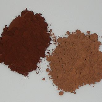 "Cocoa solids - Dutch process cocoa (left) compared to Broma process, or ""natural"", cocoa (right)"