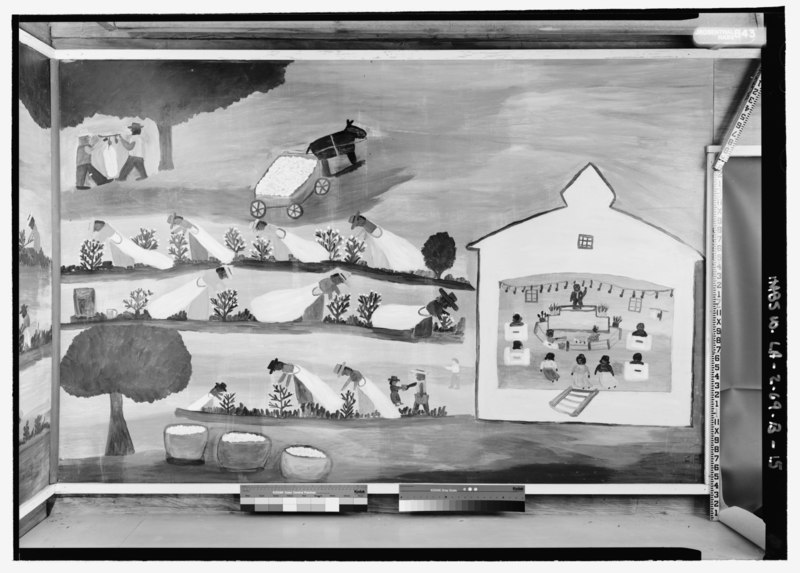"File:ELEVATION VIEW OF MURAL ""COTTON"" BY CLEMENTINE HUNTER IN NORTHWEST CORNER, NORTH WALL, WITH SCALE - Melrose Plantation, African House, State Highway 119, Melrose, Natchitoches HABS LA,35-MELRO,1B-15.tif"