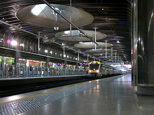 Britomart Transport Centre - An EMU sits at the newly electrified Britomart station.