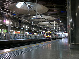 Britomart Transport Centre - An EMU arrives at the newly electrified Britomart station, 2014.