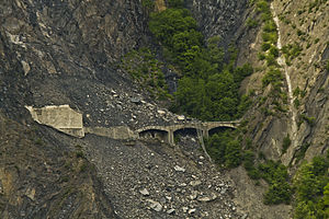 Chemin de Fer de La Mure - damage caused by the landslide (2011)