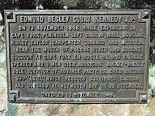 Edmund Kennedy plaque at Portland Roads.jpg