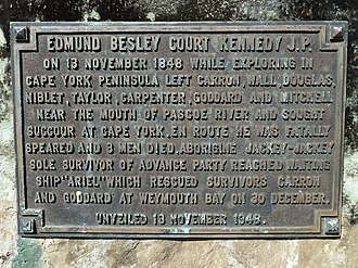 Edmund Kennedy - This memorial plaque was unveiled at Portland Roads (Weymouth Bay) North Queensland, 100 years after Edmund Kennedy's fateful expedition to Cape York Peninsula.