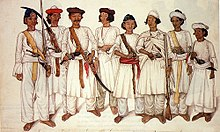 Eight Gurkha men depicted in a British Indian painting, 1815.jpg